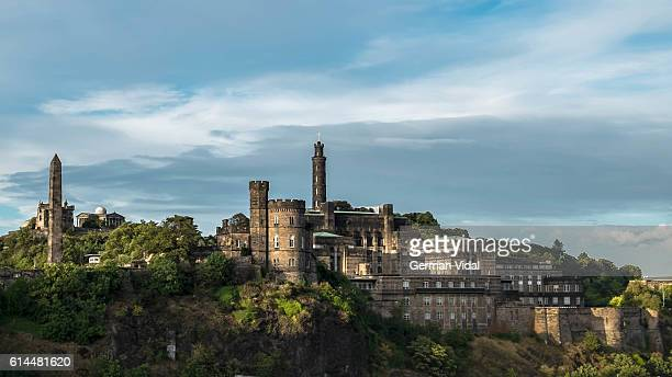 calton hill and its monuments, edinburgh, scotland (uk). panorama - edinburgh scotland stock pictures, royalty-free photos & images