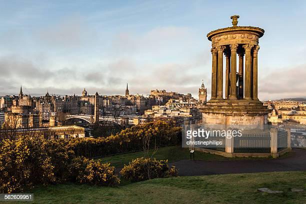 Calton Hill, Dugald Stewart Monument and the Edinburgh Old Town, Scotland, United Kingdom