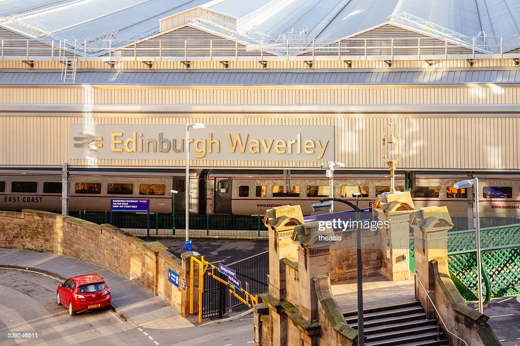 Calton Road Entrance To Waverley Train Station, Edinburgh : Stock Photo