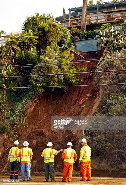 Caltrans engineers geologists and workers monitor a landslide that closed the Northbound lanes of Pacific Coast Highway in Pacific Palisades on March...