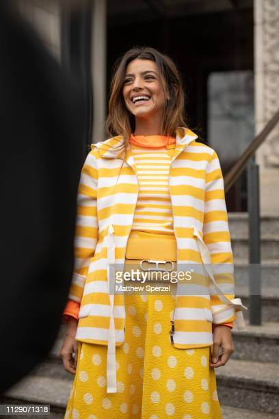Calu Rivero is seen on the street during New York Fashion Week AW19 wearing Carolina Herrera on February 11, 2019 in New York City.