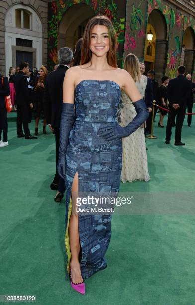 Calu Rivero, wearing Denimcratic x Marta Goldschmied x Isko, attends The Green Carpet Fashion Awards Italia 2018 at Teatro Alla Scala on September...