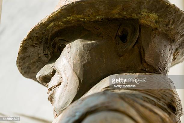 CaluireetCuire Rhône France July 6 2014 Sculpture of Jean MOULIN in front of the house where he was arrested by the Gestapo on June 21 1943 during...
