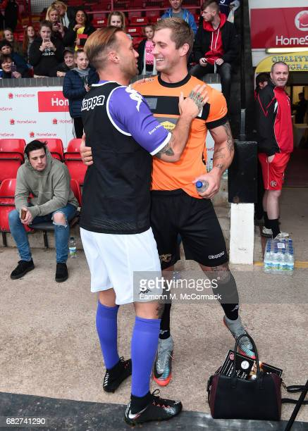 Calum Best and Dan Osborne take part in Sellebrity Soccer Match in aid of Smile For Joel and Compton Hospice at Banks' Stadium on May 13 2017 in...
