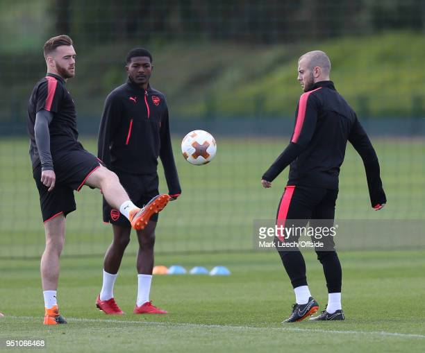 Calum Chambers Ainsley MaitlandNiles Jack Wilshere during Arsenal Training at London Colney on April 25 2018 in St Albans England
