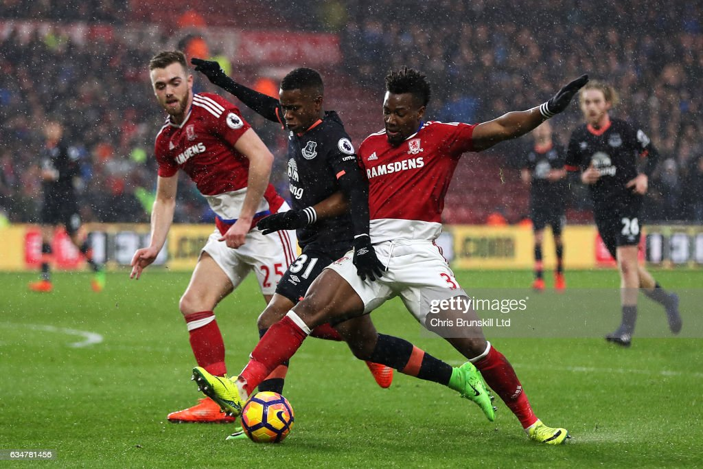 Calum Chambers (L) and Adama Traore of Middlesbrough in action with Ademola Lookman (C) of Everton during the Premier League match between Middlesbrough and Everton at Riverside Stadium on February 11, 2017 in Middlesbrough, England.