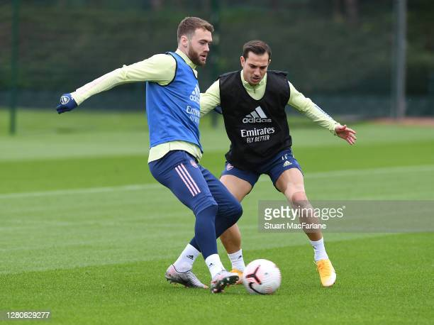 Calum Chambers and Cedric of Arsenal during a training session at London Colney on October 16 2020 in St Albans England