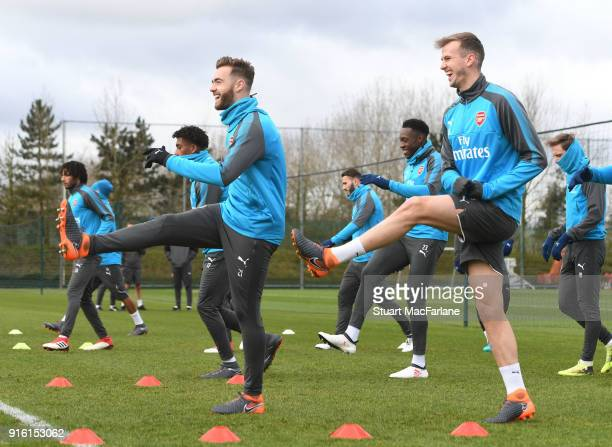 Calum Chambers and Rob Holding of Arsenal during a training session at the London Colney on February 9 2018 in St Albans United Kingdom