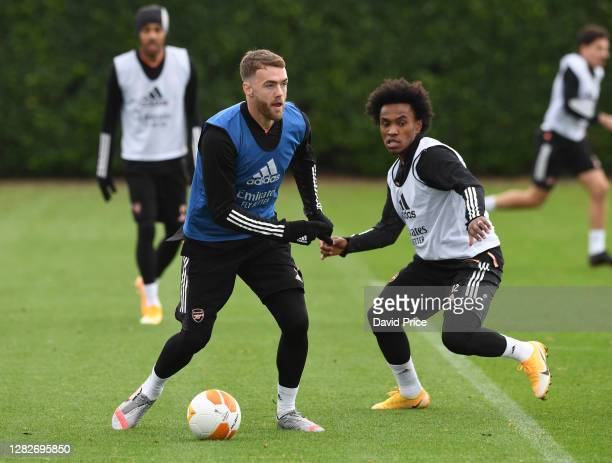 Calum Chambers and Willian of Arsenal during the Arsenal training session ahead of the UEFA Europa League Group B stage match between Arsenal FC and...