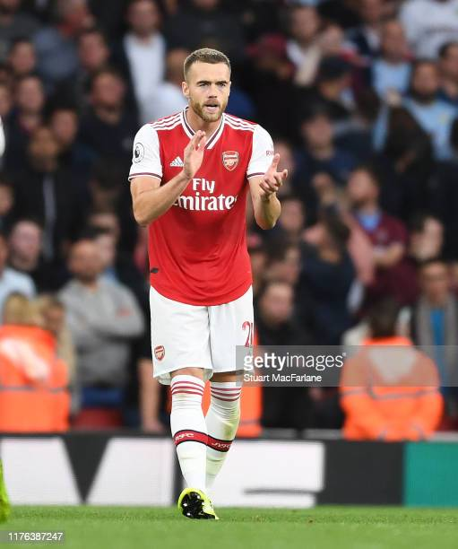 Calum Chambers celebrates scoring the 2nd Arsenal goal during the Premier League match between Arsenal FC and Aston Villa at Emirates Stadium on...