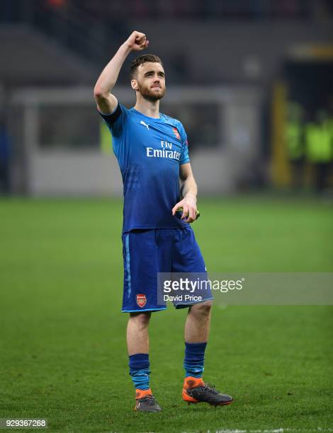 Calum Chambers of Arsenal after UEFA Europa League Round of 16 match between AC Milan and Arsenal at the San Siro on March 8 2018 in Milan Italy