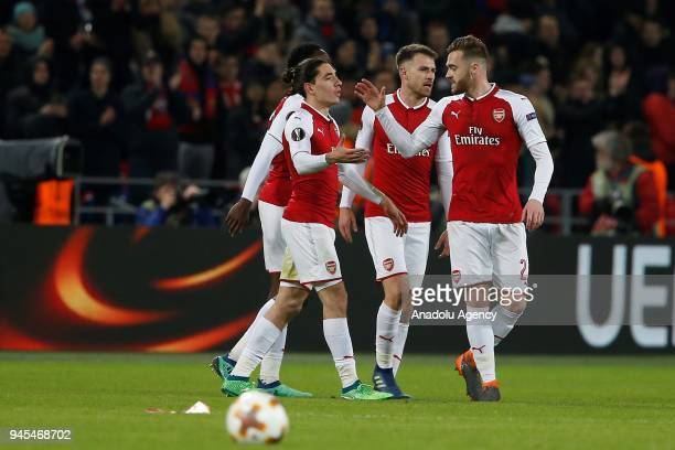Calum Chambers of Arsenal and his teammates celebrate after scoring a goal during the UEFA Europa League Quarterfinals second leg match between CSKA...