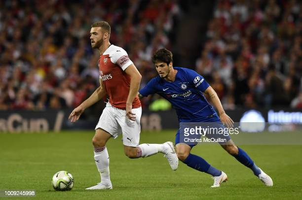 Calum Chambers of Arsenal and Lucas Piazon of Chelsea during the Preseason friendly International Champions Cup game between Arsenal and Chelsea at...