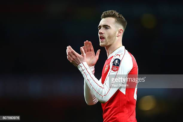 Calum Chambers of Arsenal applauds supporters after the Emirates FA Cup Fourth Round match between Arsenal and Burnley at Emirates Stadium on January...