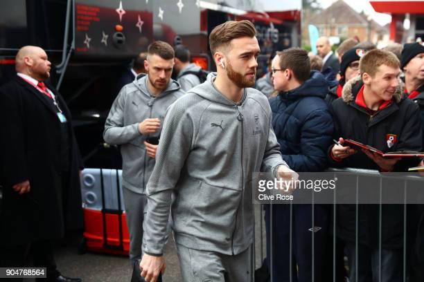 Calum Chambers of Arsenal arrives at the stadium prior to the Premier League match between AFC Bournemouth and Arsenal at Vitality Stadium on January...
