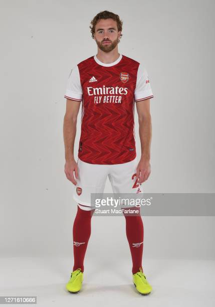 Calum Chambers of Arsenal at London Colney on September 09 2020 in St Albans England