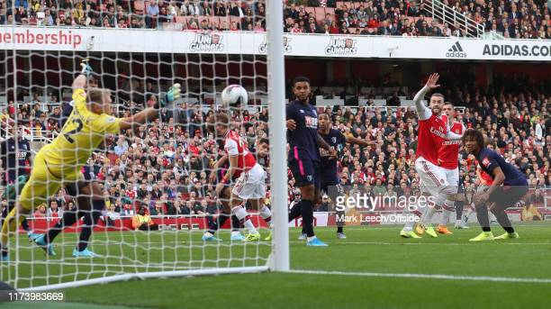 Calum Chambers of Arsenal begins to celebrate the opening goal by David Luiz before it hits the net during the Premier League match between Arsenal...