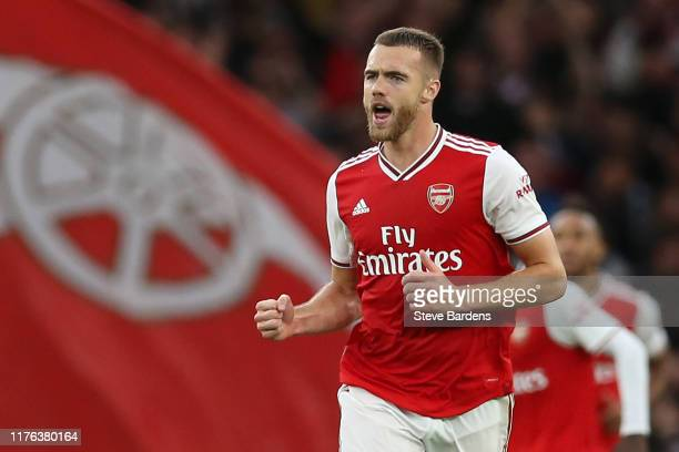 Calum Chambers of Arsenal celebrates after scoring his team's second goal during the Premier League match between Arsenal FC and Aston Villa at...