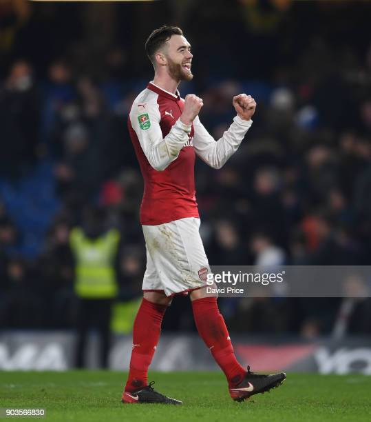 Calum Chambers of Arsenal cheers the fans after the Carabao Cup Semie Final 1st leg match between Chelsea and Arsenal at Stamford Bridge on January...