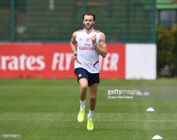 Calum Chambers of Arsenal during a training session at London Colney on May 26 2020 in St Albans England