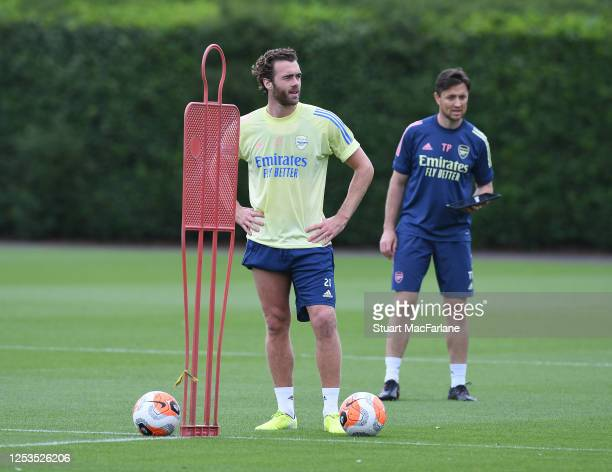Calum Chambers of Arsenal during a training session at London Colney on June 30 2020 in St Albans England
