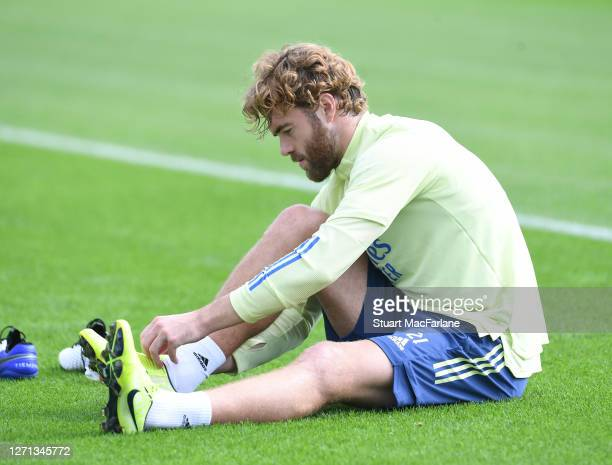 Calum Chambers of Arsenal during a training session at London Colney on September 08 2020 in St Albans England