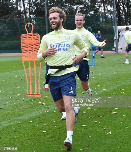 Calum Chambers of Arsenal during a training session at London Colney on September 27 2020 in St Albans England
