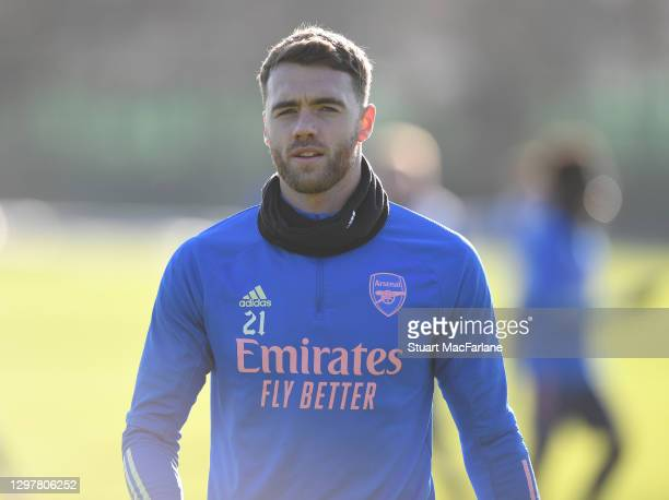 Calum Chambers of Arsenal during a training session at London Colney on January 22, 2021 in St Albans, England.