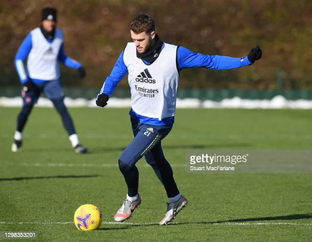 Calum Chambers of Arsenal during a training session at London Colney on January 25, 2021 in St Albans, England.