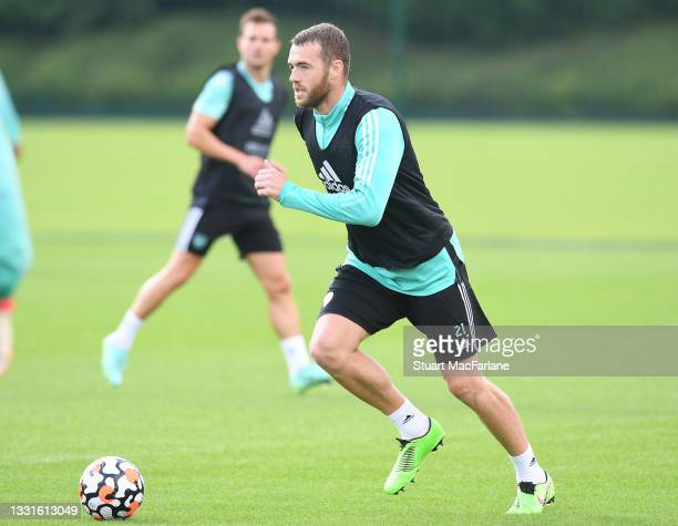 Calum Chambers of Arsenal during a training session at London Colney on July 30, 2021 in St Albans, England.