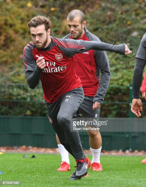 Calum Chambers of Arsenal during a training session at London Colney on November 4 2017 in St Albans England