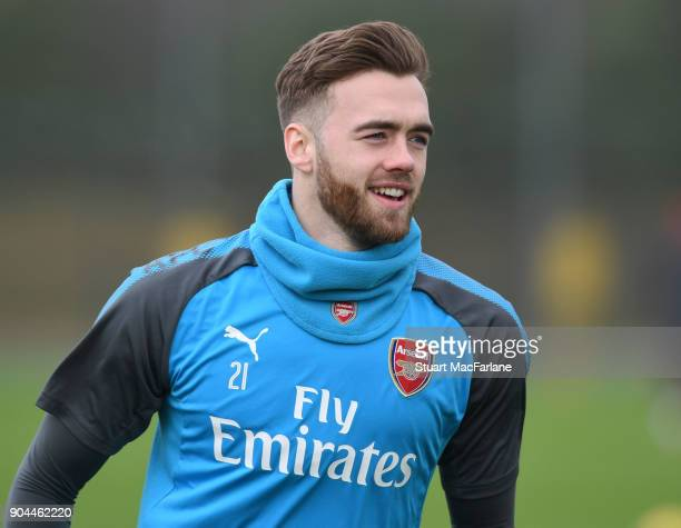 Calum Chambers of Arsenal during a training session at London Colney on January 13 2018 in St Albans England