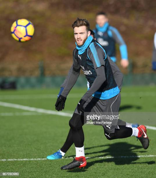 Calum Chambers of Arsenal during a training session at London Colney on January 19 2018 in St Albans England