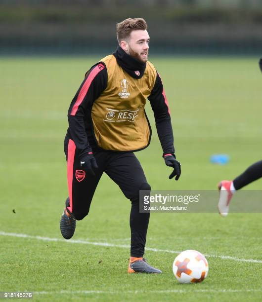 Calum Chambers of Arsenal during a training session at London Colney on February 14 2018 in St Albans United Kingdom