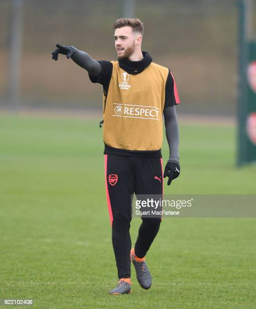Calum Chambers of Arsenal during a training session at London Colney on February 21 2018 in St Albans England