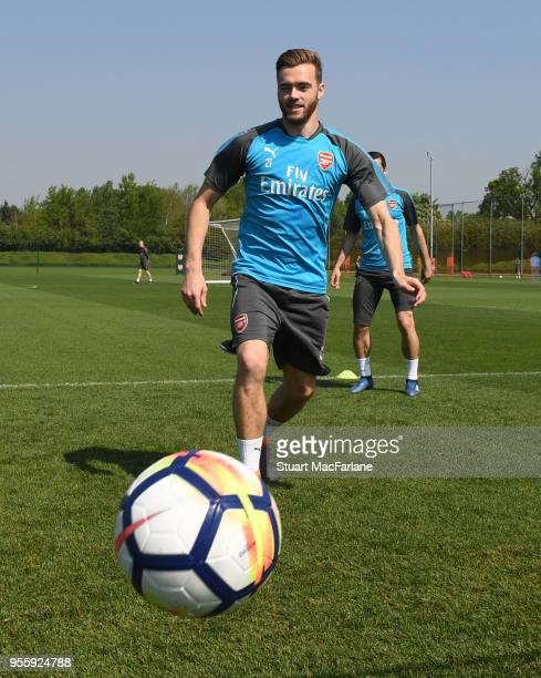 Calum Chambers of Arsenal during a training session at London Colney on May 8 2018 in St Albans England