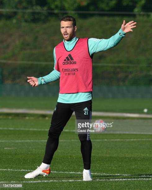 Calum Chambers of Arsenal during the Arsenal 1st team training session at London Colney on October 21, 2021 in St Albans, England.