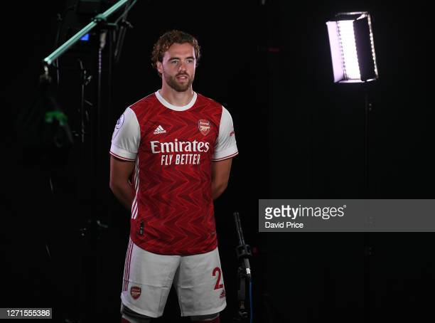 Calum Chambers of Arsenal during the Arsenal Media Photocall at London Colney on September 09 2020 in St Albans England