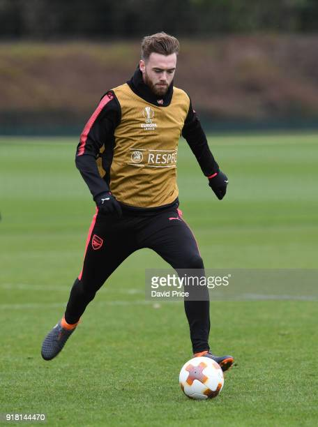 Calum Chambers of Arsenal during the Arsenal training session at London Colney on February 14 2018 in St Albans England