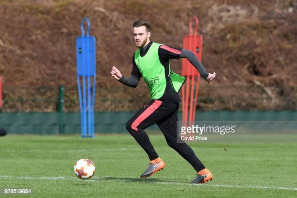 Calum Chambers of Arsenal during the Arsenal Training Session at London Colney on March 7 2018 in St Albans England