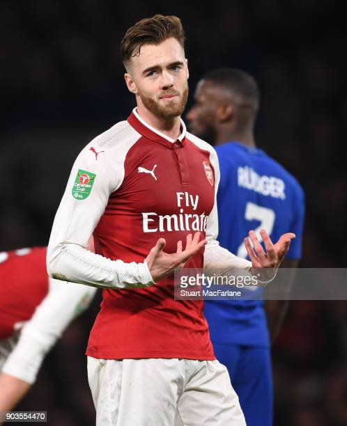 Calum Chambers of Arsenal during the Carabao Cup SemiFinal First Leg match between Chelsea and Arsenal at Stamford Bridge on January 10 2018 in...