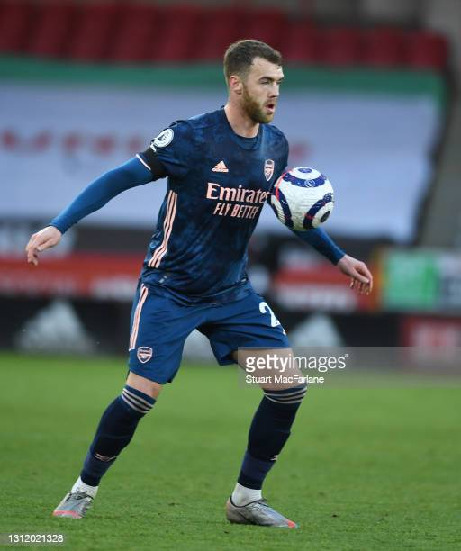 Calum Chambers of Arsenal during the Premier League match between Sheffield United and Arsenal at Bramall Lane on April 11, 2021 in Sheffield,...