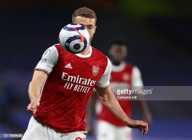 Calum Chambers of Arsenal during the Premier League match between Chelsea and Arsenal at Stamford Bridge on May 12, 2021 in London, England. Sporting...