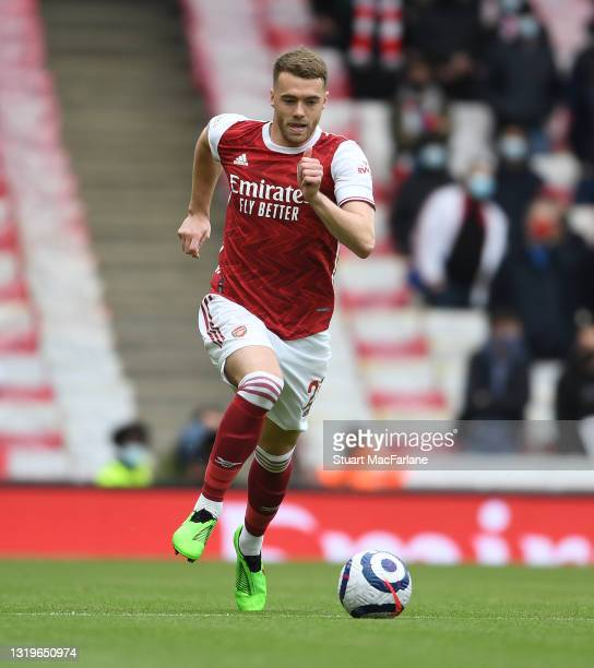 Calum Chambers of Arsenal during the Premier League match between Arsenal and Brighton & Hove Albion at Emirates Stadium on May 23, 2021 in London,...