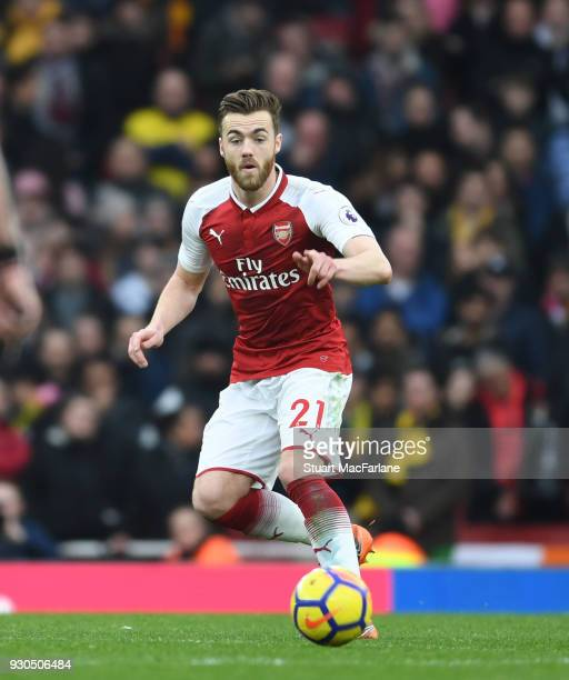Calum Chambers of Arsenal during the Premier League match between Arsenal and Watford at Emirates Stadium on March 10 2018 in London England