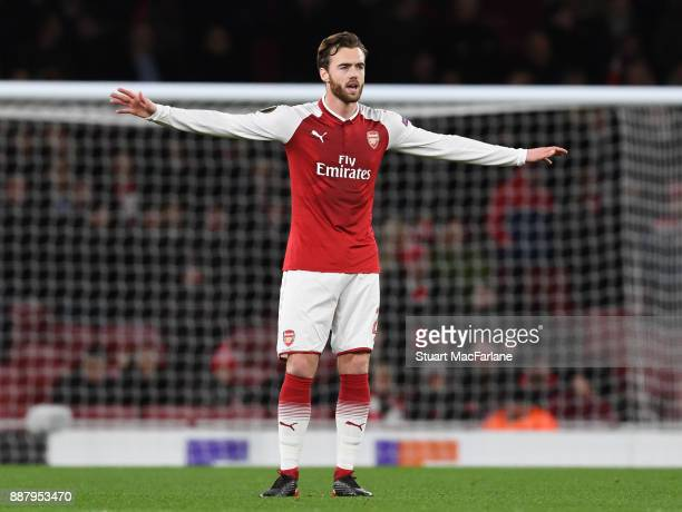 Calum Chambers of Arsenal during the UEFA Europa League group H match between Arsenal FC and BATE Borisov at Emirates Stadium on December 7 2017 in...