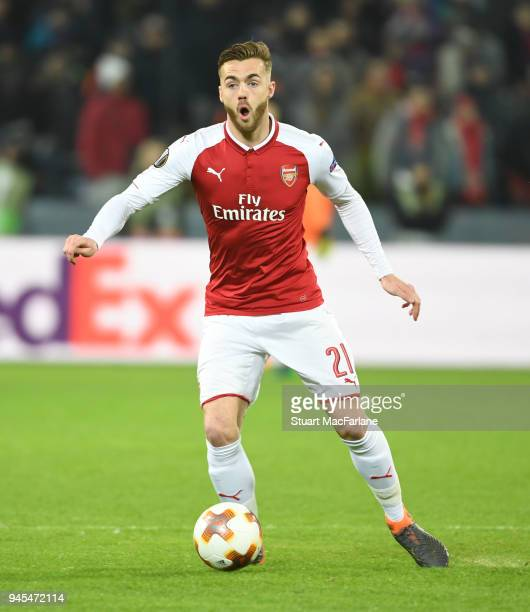 Calum Chambers of Arsenal during the UEFA Europa League quarter final leg two match between CSKA Moskva and Arsenal FC at on April 12 2018 in Moscow...
