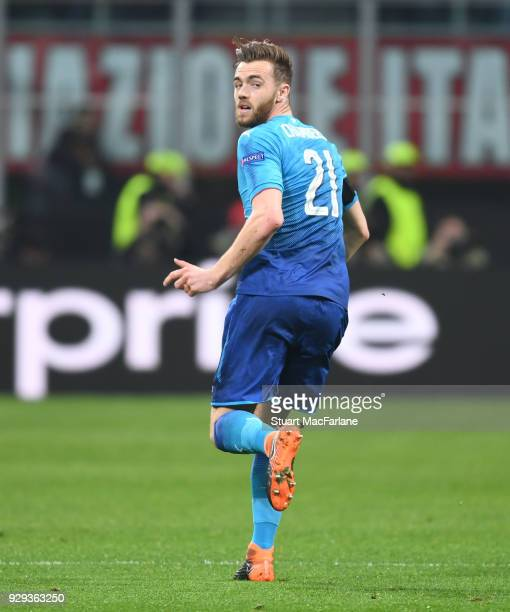Calum Chambers of Arsenal during UEFA Europa League Round of 16 match between AC Milan and Arsenal at the San Siro on March 8 2018 in Milan Italy