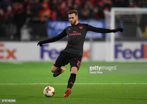 Calum Chambers of Arsenal during UEFA Europa League Round of 32 match between Ostersunds FK and Arsenal at the Jamtkraft Arena on February 15 2018 in...