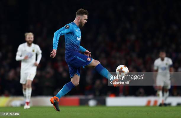 Calum Chambers of Arsenal during UEFA Europa League Round of 32 match between Arsenal and Ostersunds FK at the Emirates Stadium on February 22 2018...